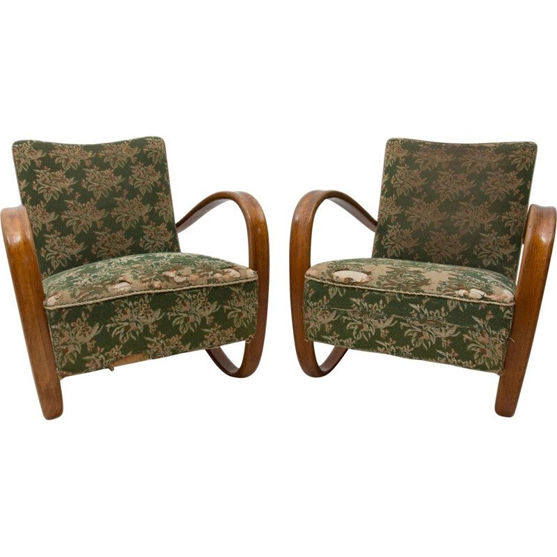 Pair of vintage Lounge bentwood armchairs Czechoslovakia 1930s