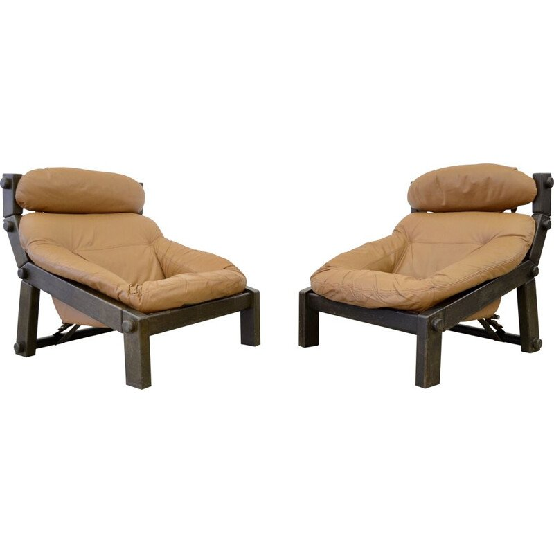 Pair of vintage Montis Brutalist lounge chairs by Gerard van den Berg 1970s