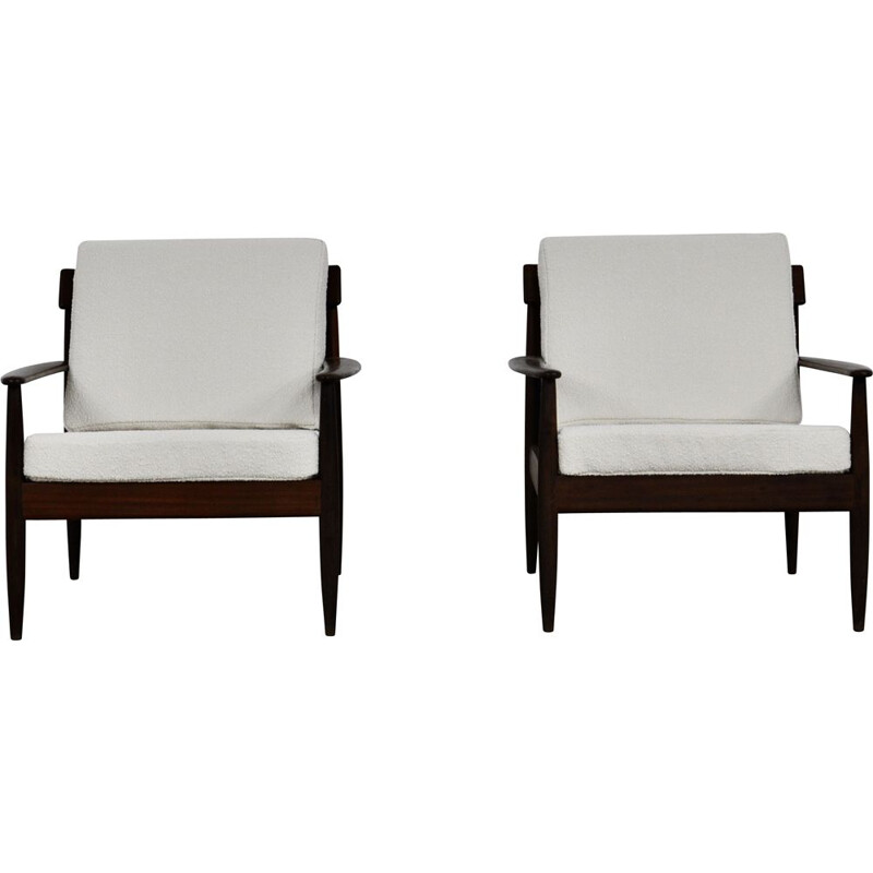 Pair of white vintage Armchairs Scandinavian 1960s