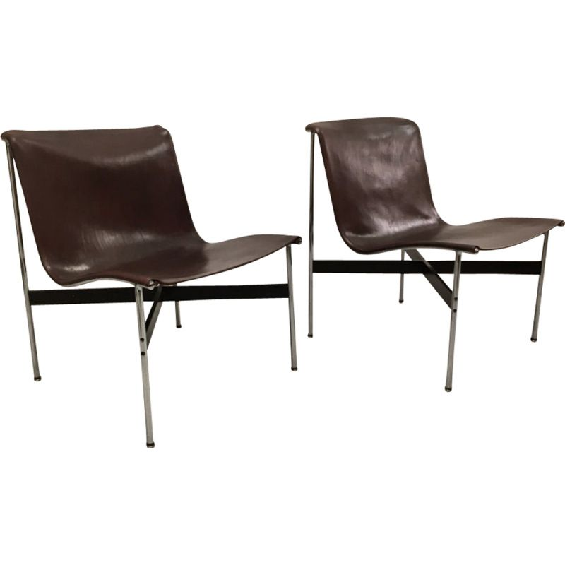 Pair of vintage chocolate leather chairs by William Katavolos, Ross Littel and Douglas Kelly for Laverne International 1952