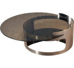 Kappa Italian coffee table in smoked glass and brushed steel - 1970s