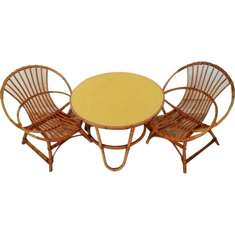 Pleasant Set Of Armchairs And Table For Children In Rattan 1960 Beatyapartments Chair Design Images Beatyapartmentscom