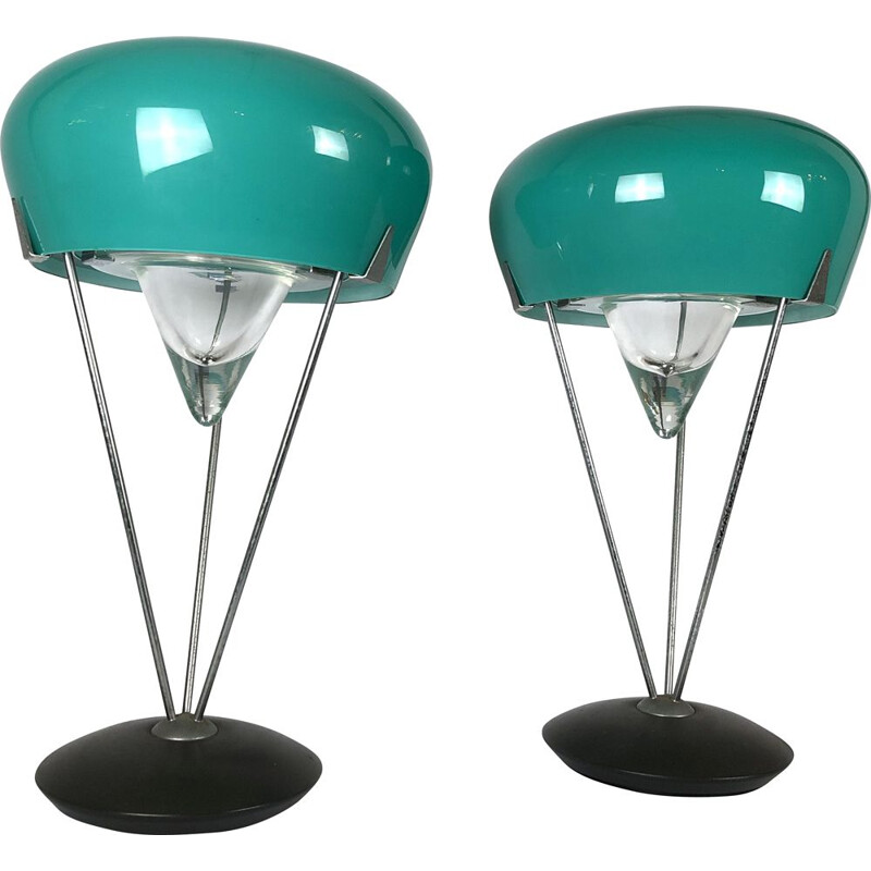 Pair of large vintage Murano Glass Table lamps by De Majo 1970s