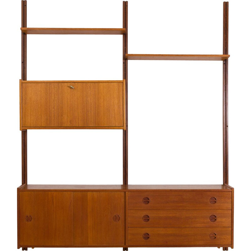 Vintage teak wall unit with sideboard and bar cabinet Scandinavian 1960s