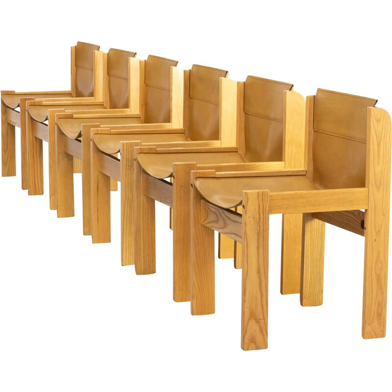 Set of 6 vintage wooden framed saddle leather chairs for Ibisco 1970s