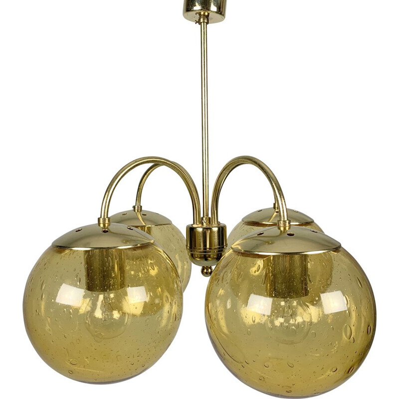 Vintage Chandelier Kamenicky Senov glass brass 4-armed gold