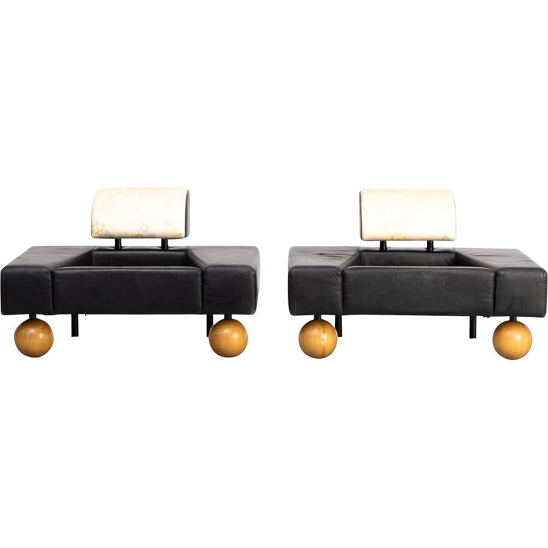 Pair of vintage Rob Eckhardt pouffe garni lounge chairs for Pastoe 1980s