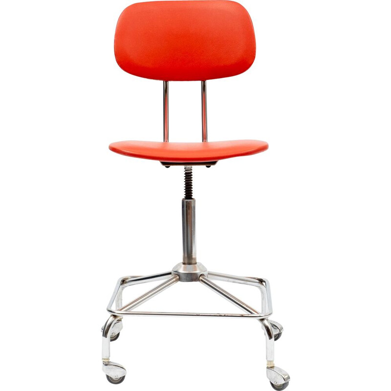 Vintage office chair in red chrome 1950s