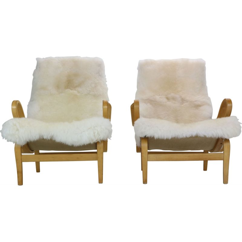 Pair of vintage lounge chairs Bruno Mathsson Sweden 1969s