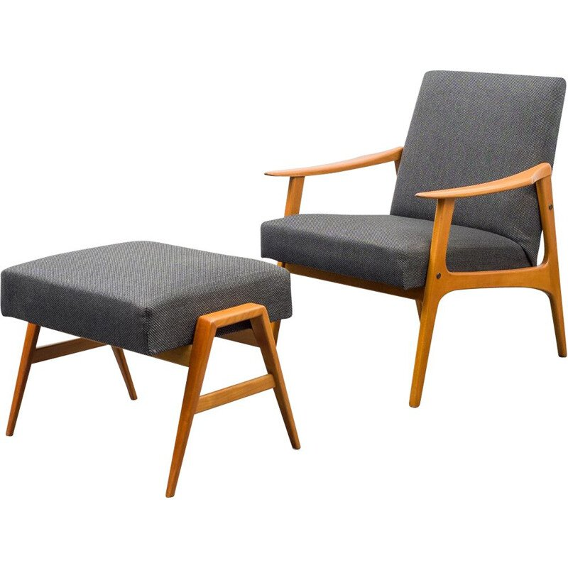 Vintage easy chair with foot stool 1960s