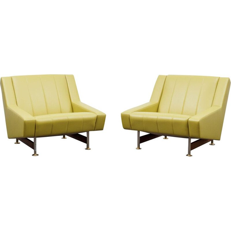 Pair of vintage lounge leather chair 1960s