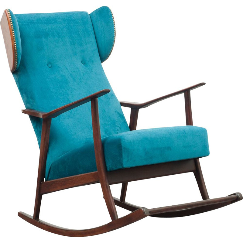 Vintage rocking chair petrol blue 1950s