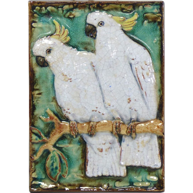 Vintage ceramic wall plaque with Karlsruher parrots 1930s