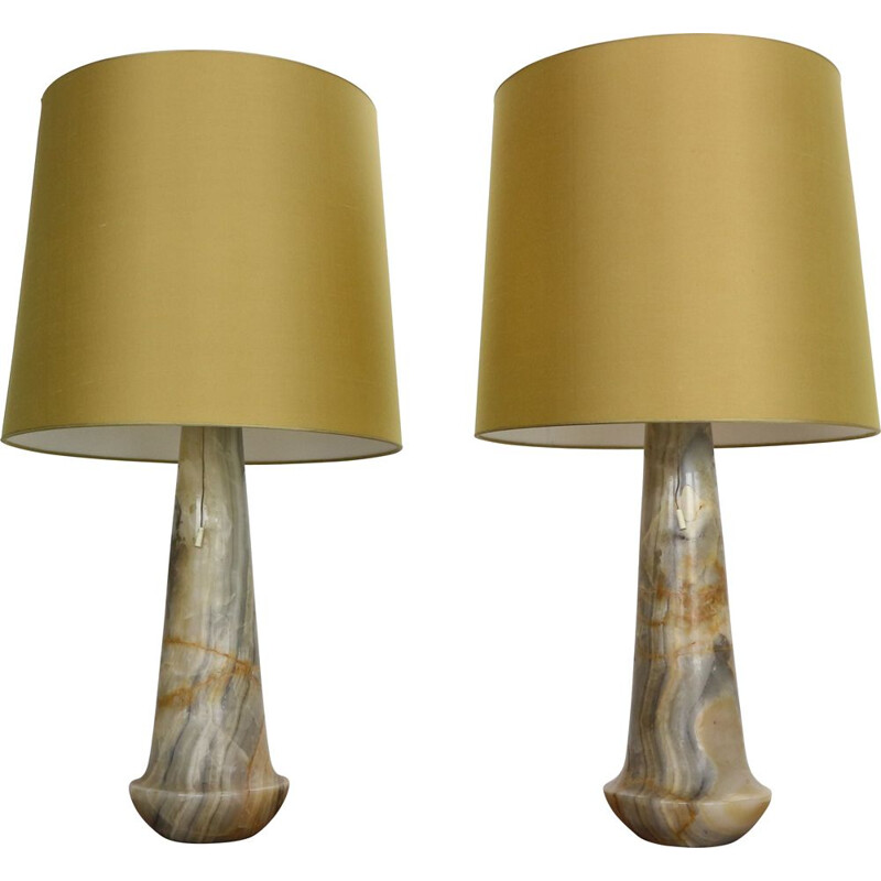 Pair of vintage Marble Table Night stand Lamps Italy 1960s