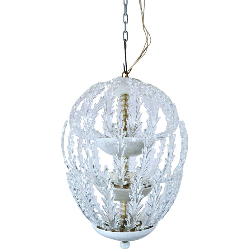 Vintage Murano Glass Ceiling Light For Venini 1940s