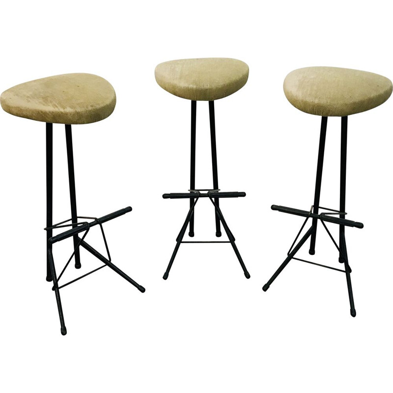 Set of 3 vintage bar stools by Willy Van Der Meeren for Tubax 1950s