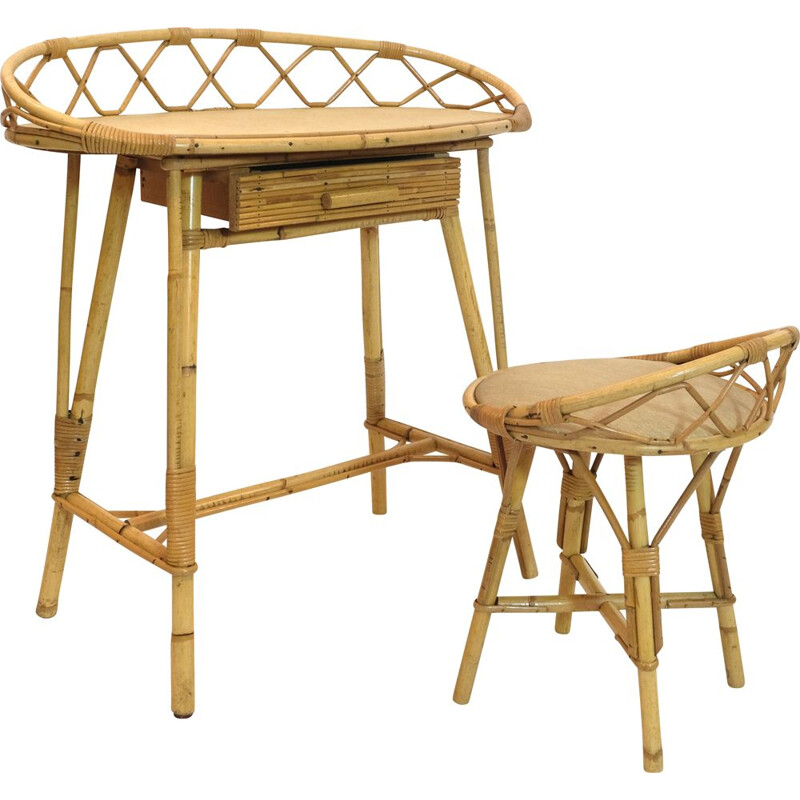 Vintage rattan dressing table with its chair 1950s