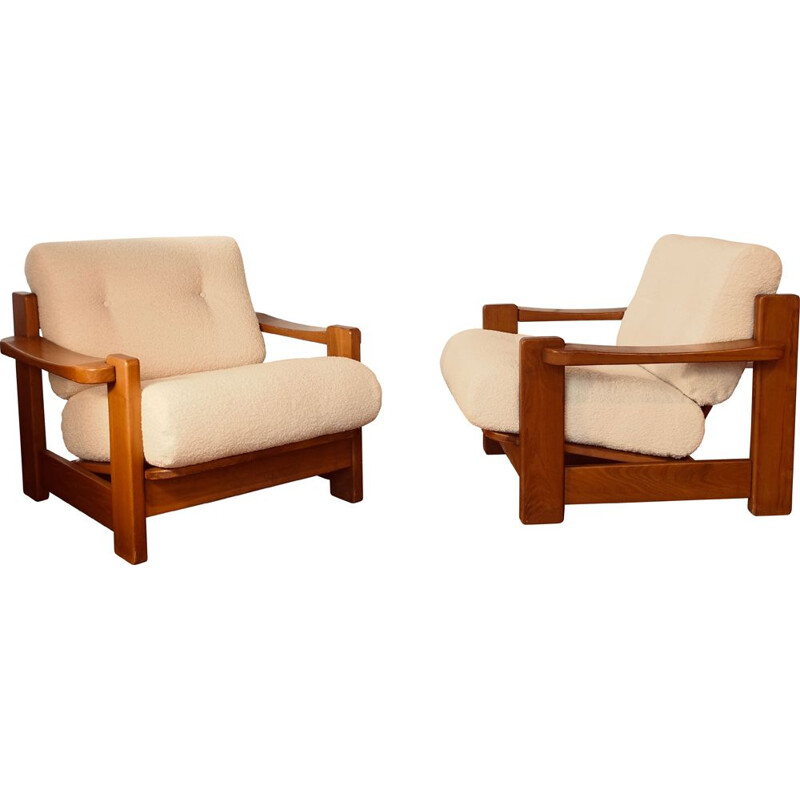 Pair of vintage elm armchairs 1970s