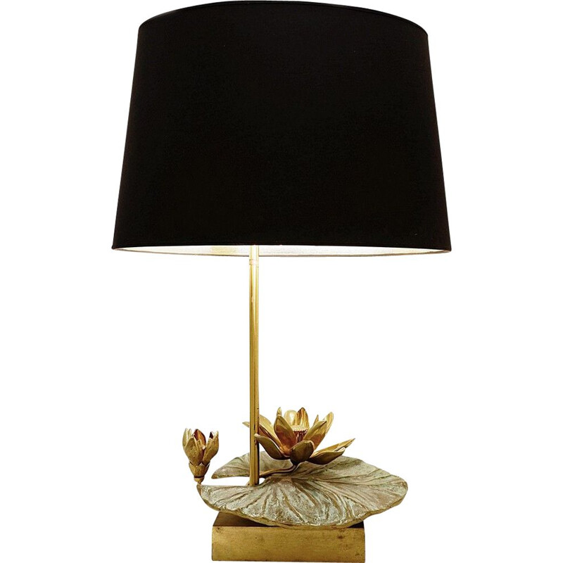 Vintage Nenuphar table lamp in brass and bronze French 1960s