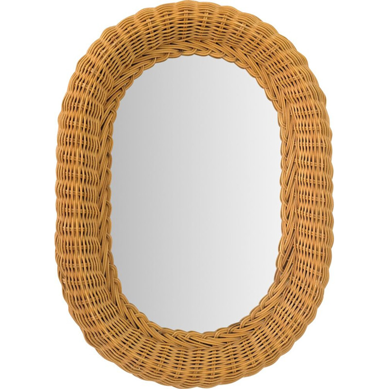 Vintage mirror with thick wicker frame 1950s