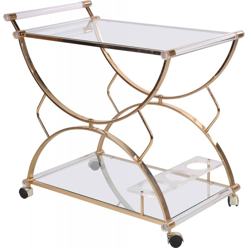 Vintage perspex drinks trolley Hollywood regency 1970s
