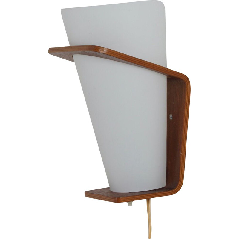 Vintage Teak Wall Lamp by Louis Kalff for Philips 1960s