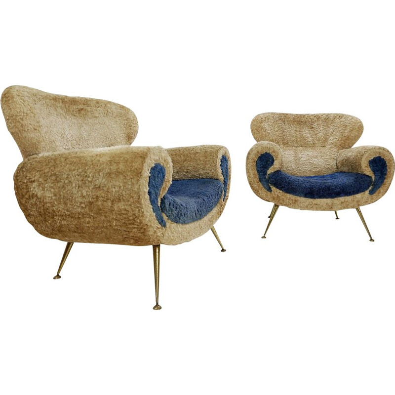 Pair of vintage fake fur armchairs Italian