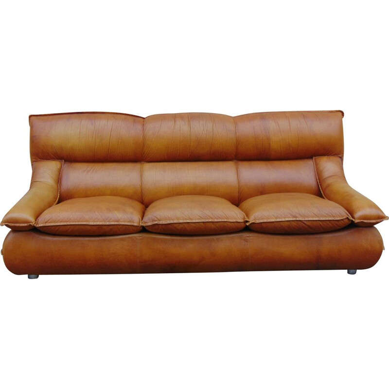 Vintage sofa in leather by Lev&Lev Milano 1970s