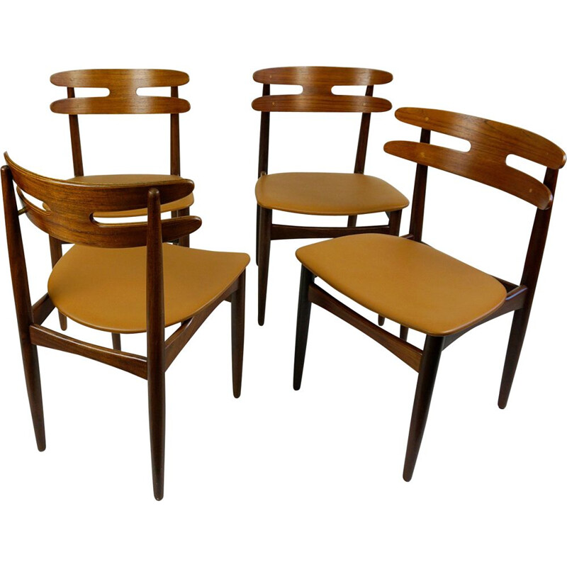 Set of 4 vintage Mod. 178 Teak Dining Chairs by Johannes Andersen Denmark