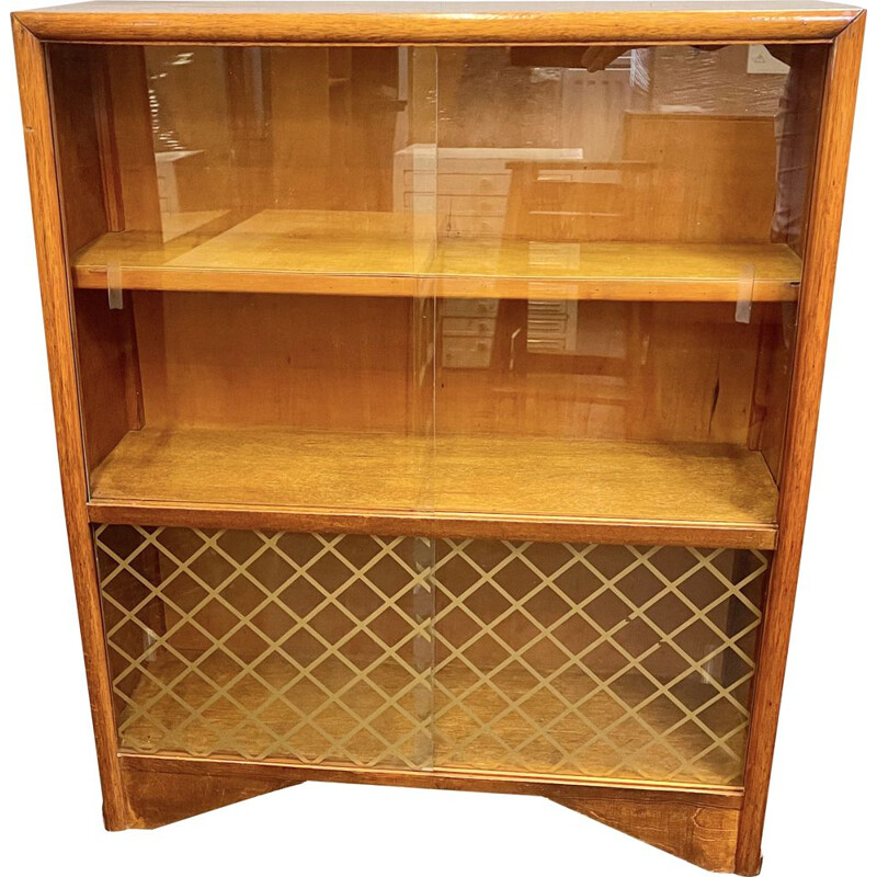 Vintage Bookcase Glass Cabinet 1950