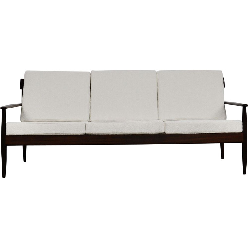 Vintage sofa in wood and fabric Scandinavian white colour 1960