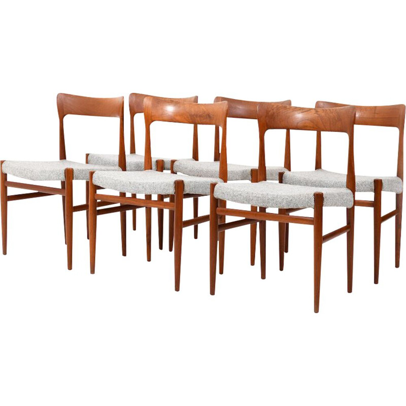 Set of 6 vintage Danish Mid Century organic shaped Chairs in solid Teak 1950