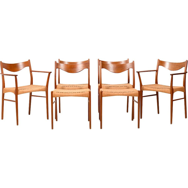Set of 6 Vintage Teak Dining Chairs by Arne Wahl Iversen Glyngøre Stolefabrik Danish 1957