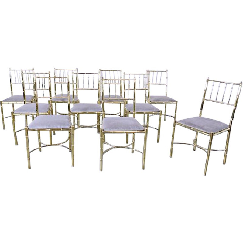 Set of 10 vintage Brass Chairs 1940