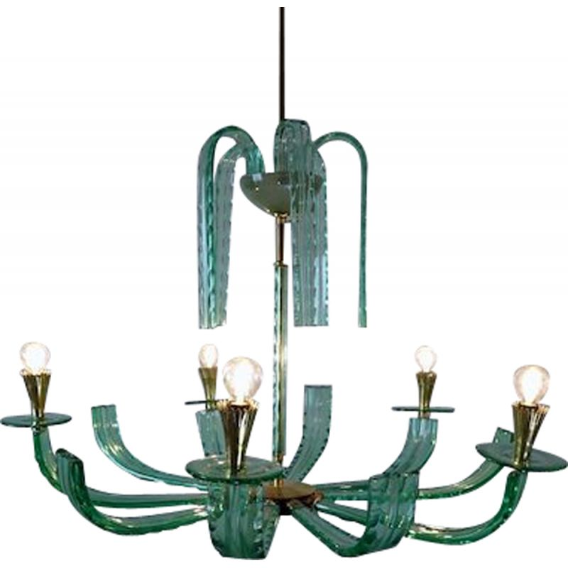 Vintage chandelier in glass and brass, Italy 1940