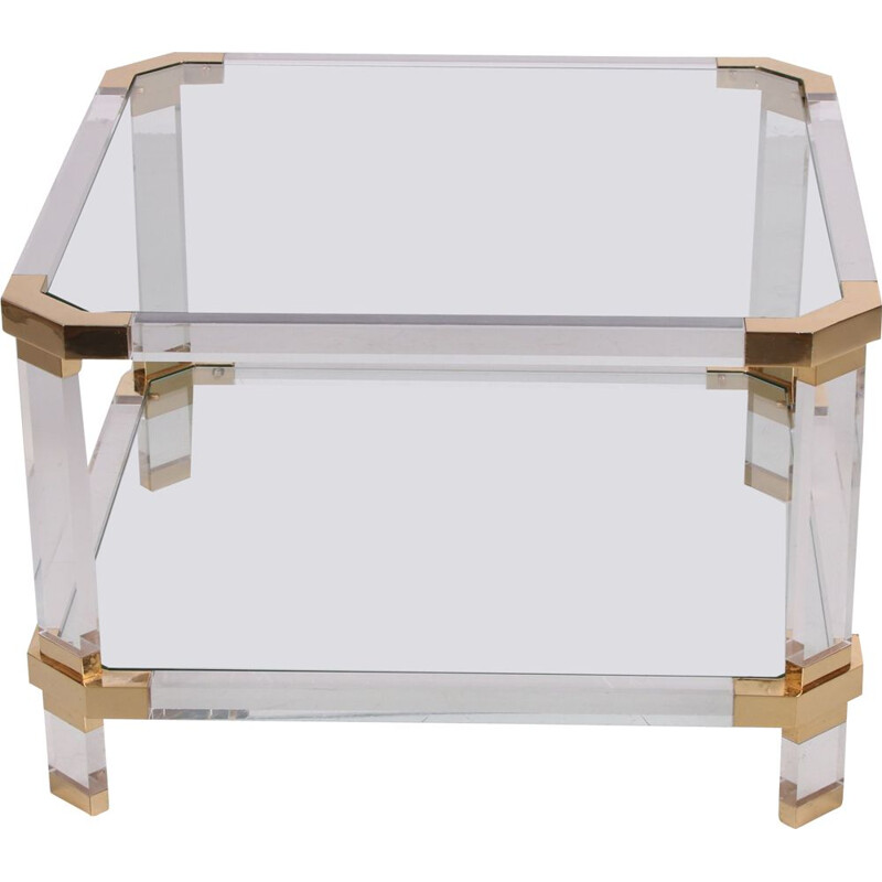 Vintage coffee table in lucite and brass, Charles Hollis Jones 1970