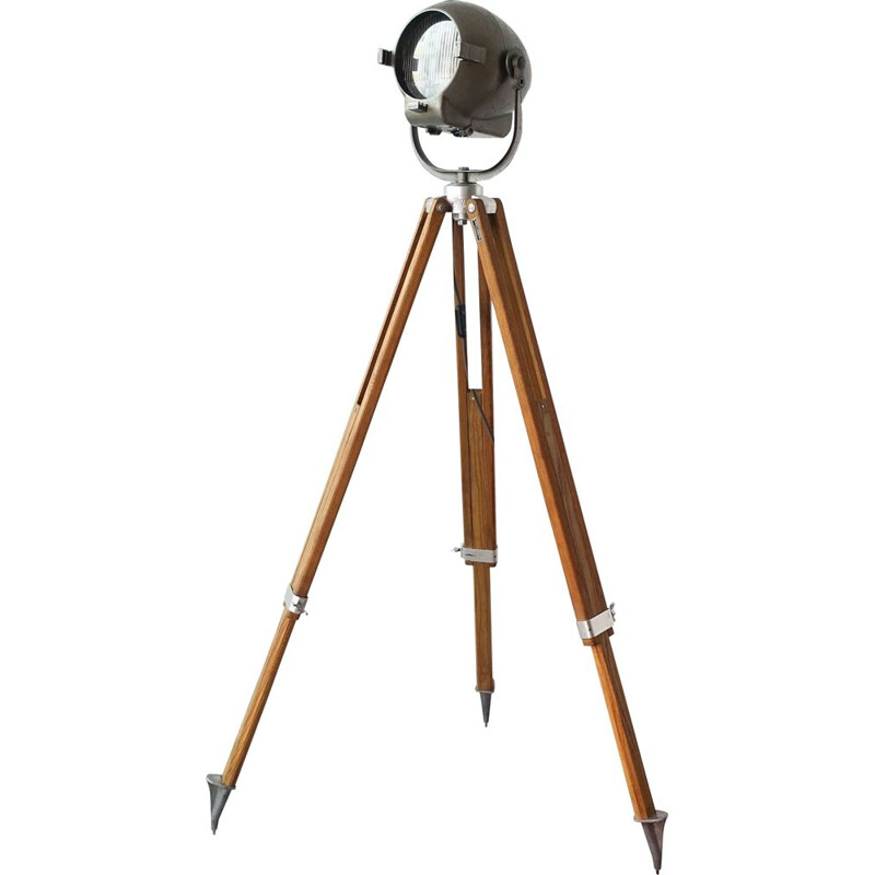 Vintage stranded electric theatre floor lamp with tripod by Kern Aarau 1950