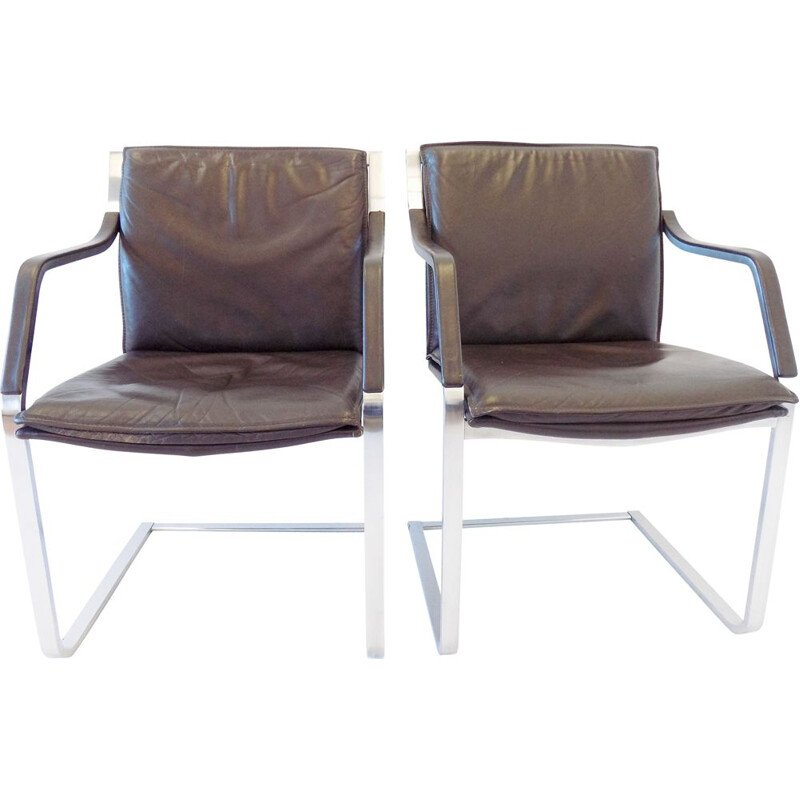 Pair of vintage brown leather armchairs by Rudolf Glatzel Knoll Art Collection 1980s