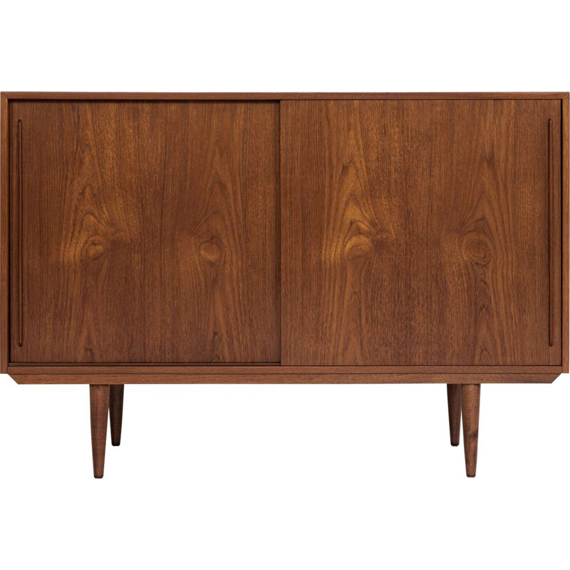 Vintage teak highboard with 2 sliding doors, Denmark 1960