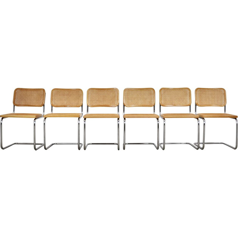 Set of 6 vintage chairs model B32 by Marcel Breuer