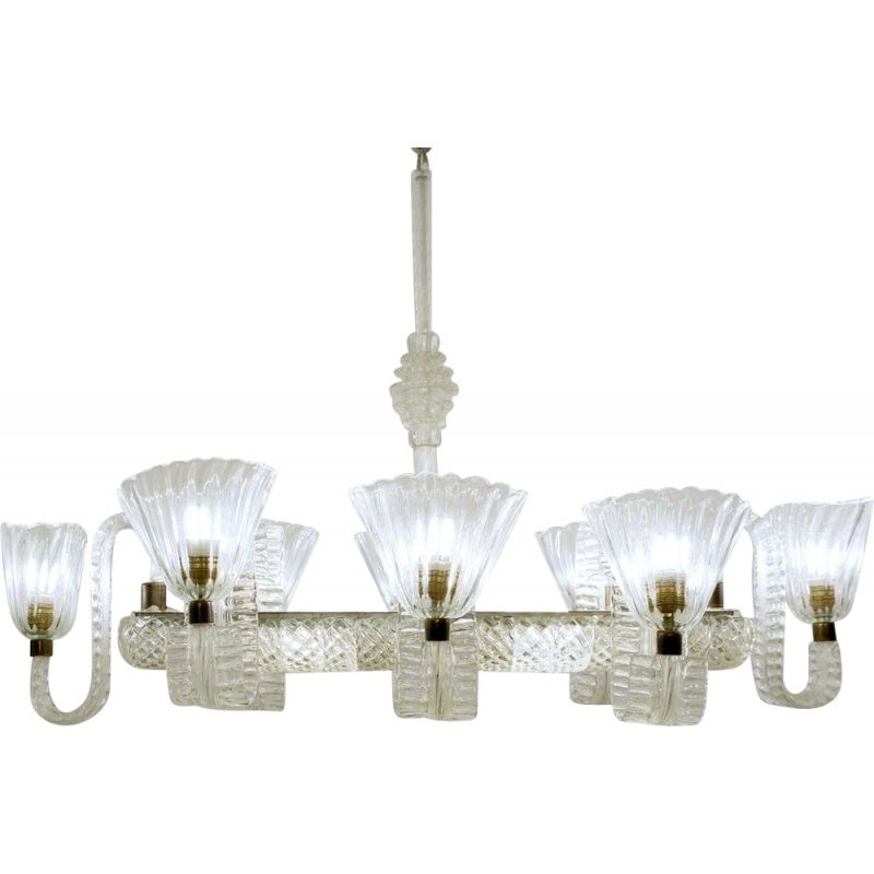 Vintage eight-arm chandelier by Ercole Barovier, Italy 1940