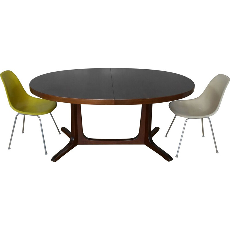 Vintage elm oval dining table with 2 extensions 1960s