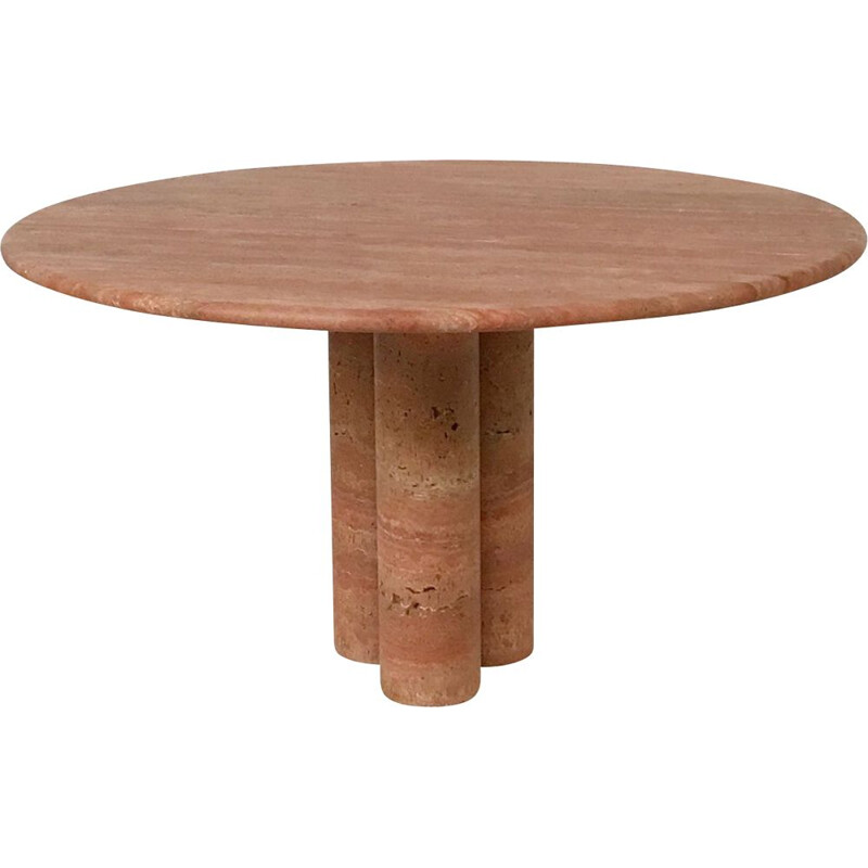 Vintage table in Red Travertine by Mario Bellini