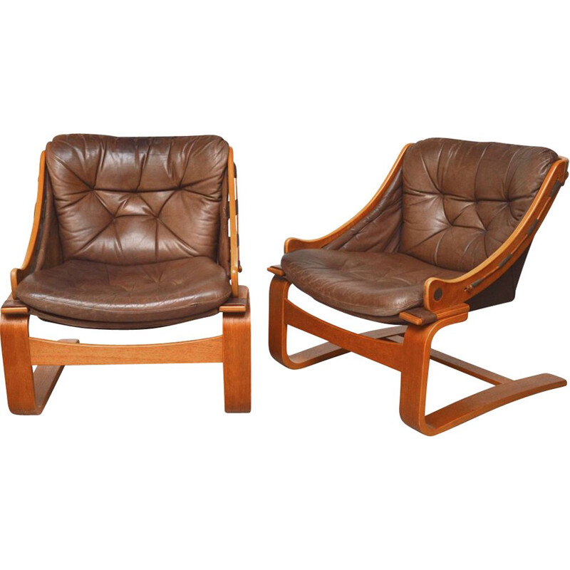 Pair of vintage teak and leather armchairs by Ake Fribytter Sweden 1970s