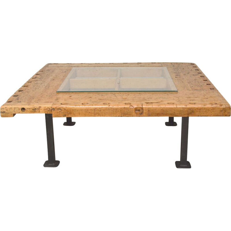 Large industrial vintage coffee table in solid wood
