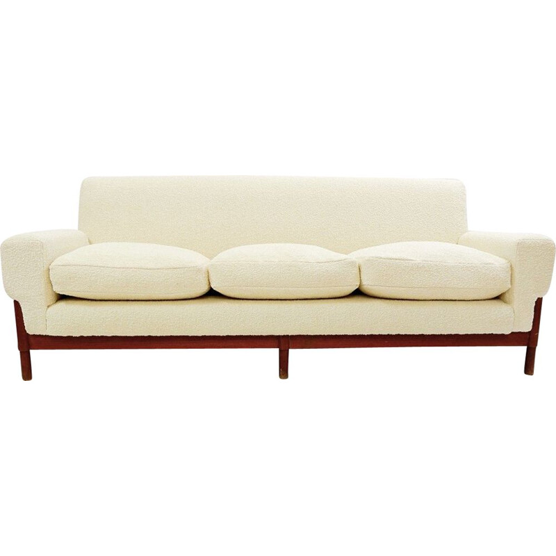 Vintage three seater cream white sofa Italian