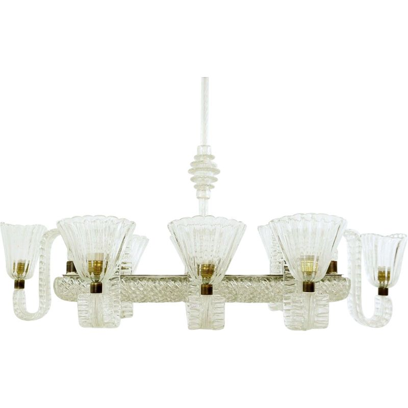 Vintage eight-arm chandelier Ercole Barovier, Italy 1940