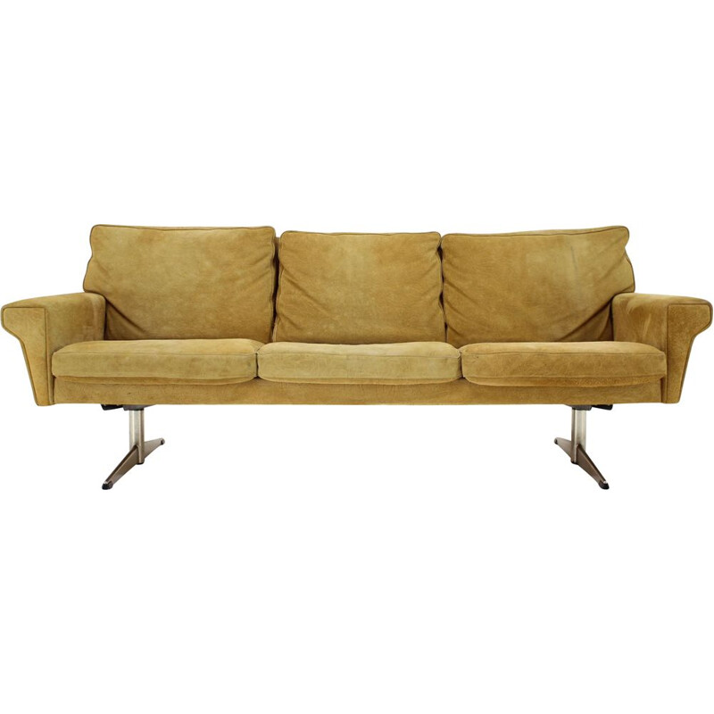 Vintage 3 seater suede leather sofa by Georg Thams, Denmark 1970