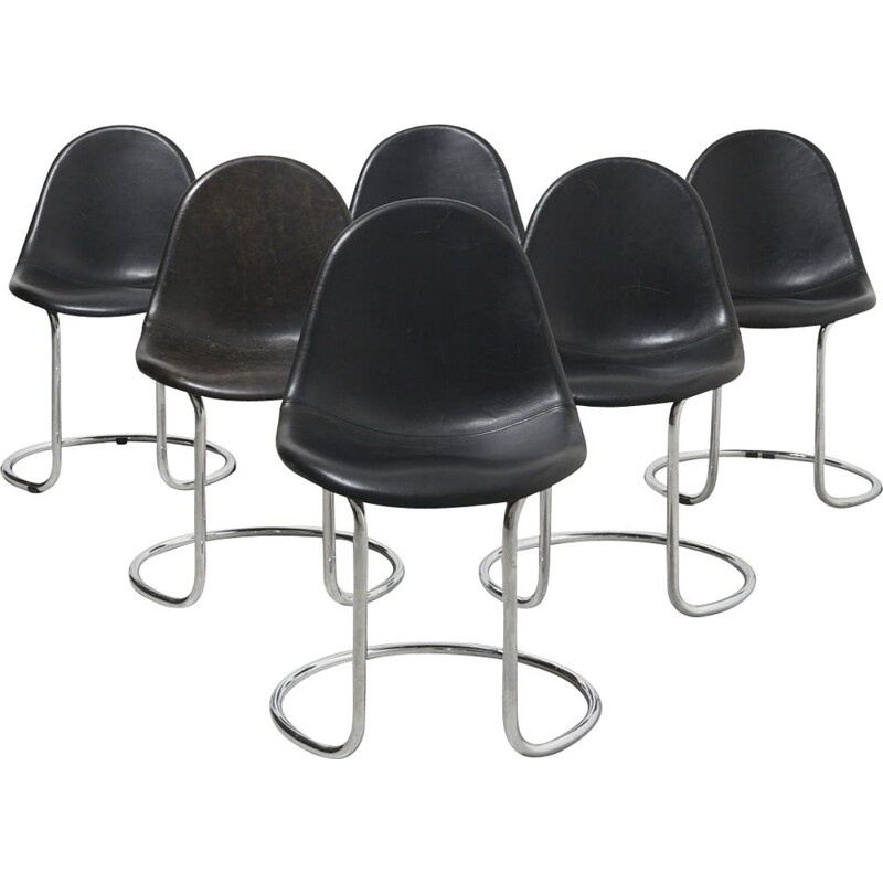 Set of 6 vintage Maya Dining Chairs by Giotto Stoppino for Bernini Italy 1960s
