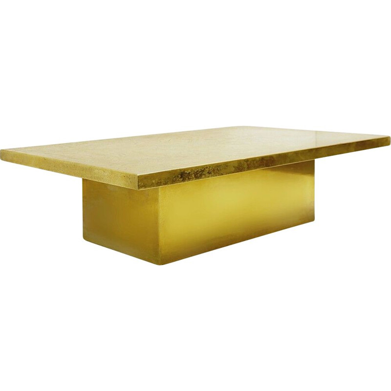 Vintage engraved brass coffee table by Guy De Jong, Belgium